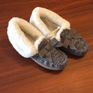 🆕 Gray Moccasin Slippers Faux Fur & 2-Tone Knit S
